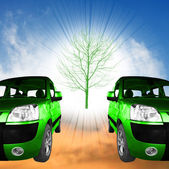 Green cars — Foto Stock