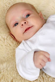 Lindo bebé en una manta peluche. — Foto de Stock