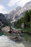 Beautiful lake Lago di Braies — Stock Photo