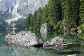 Mountain lake Lago di Braies — Stock Photo