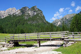 Footbridge in Dolomiti Mountains — Stock Photo
