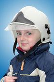 Boy firefighter — Stock Photo