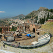 Famous greek, classical theater in Taormina — Stock Photo