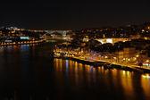 Panoramik gece görünümü ribeira porto, portekiz — Stok fotoğraf