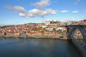 Ribeira with the Luis I Iron Bridge,Porto,Portugal. — Stock Photo