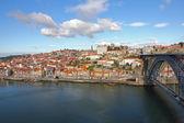 Ribeira med luis jag iron bridge, porto, portugal我铁路易斯 · 里的贝拉桥,波尔图葡萄牙. — 图库照片