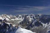 Panoramic picture of Mont Blanc, french Alps,Chamonix. With 4808 — Stock Photo