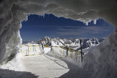 Ice cave at Aguille Du Midi,Mont Blanc — Stock Photo