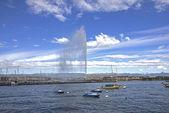Švýcarsko, Ženeva, výhled na Ženevské jezero a jet d — Stock fotografie