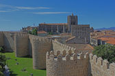 Avila town and cathedral seen from the medieval city walls. Span — Stock Photo