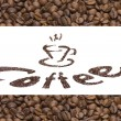 Publicity of coffee. text with ground coffee and background with - Stock Photo