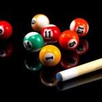 Billiard balls & Pool stick composition.Isolated on black — Stock Photo #16971581