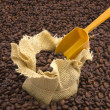 Sack of coffee beans and scoop with coffee beans background — Stock Photo #16971623