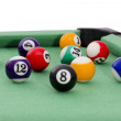 Billiard balls on green table composition.white background — Stock Photo #16972169
