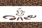 Publicity of coffee. text with ground coffee and background with — Fotografia Stock