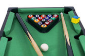 Billiard game & Pool stick composition.Isolated on white — Stock Photo