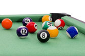 Billiard balls on green table composition.white background — Stock Photo