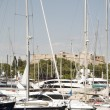 Yachts harbor of Antibes France on the French Riviera with castl — Stock Photo