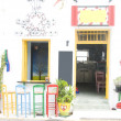 图库照片: Coffee shop bar with colorful vintage Greece style chairs, stool