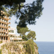 Stock Photo: Luxury apartment condos built on cliff over MediterraneSeMo