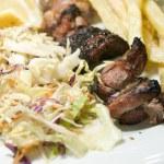 Pork liver kabob meal Tunis Tunisia — Stock Photo