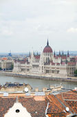 Budapest Hungary cityscape panorama with Parliament Danube Rive — Stock Photo