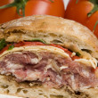 Gourmet sandwich on ciabatta bread - Stock Photo