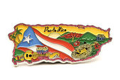 Souvenir magnet of puerto rico in shape of the country map — Stock Photo