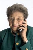 Happy senior kvinna på telefon — Stockfoto