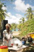 Rasta man cooking — Stock Photo