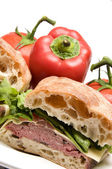 Roast beef boursin cheese ciabatta bread sandwich — Stock Photo