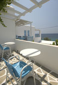 Sea view from greek island apartment — Stock Photo