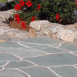 Stock Photo: Stone walkway with flowers