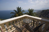 Villa hotel deck patio over sea taormina sicily — Stock Photo