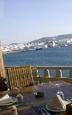 Vista del porto dal ristorante isola greca — Foto Stock