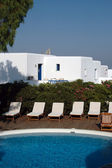 Pool greek hotel — Stock Photo