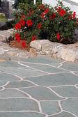 Stenen gångväg med blommor — Stockfoto