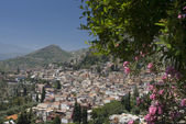 Landscape view taormina sicily — Stock Photo
