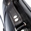 Hand made black leather bag — Stock Photo