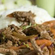 Lomo saltado peruvian steak — Stock Photo