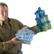 Man with presents gifts — Stock Photo