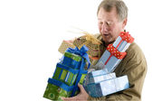 man with presents gifts — Stockfoto
