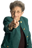 Senior woman serious pointing — Stock Photo