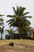 Nikaragua balıkçı teknesi ıstakoz tuzaklar yerli ev — Stok fotoğraf