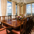 Penthouse dining room with view new york city — Stock Photo