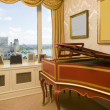 Stock Photo: Harpsichord in penthouse bedroom with river view in new york cit
