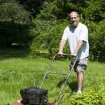 Человек скашивания травы на пригородном доме — Стоковое фото #13074411