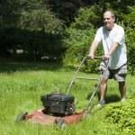 Man cutting grass at suburban house — Stock Photo #13074435