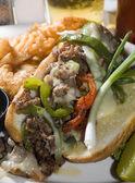 Philly cheese steak sandwich — Stock Photo