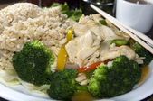 Vietnamese food spicy chicken white meat steamed broccoli — Stock Photo
